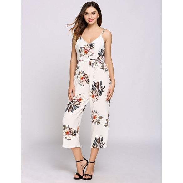 Women Casual Wide Leg Floral Pants Rompers Jumpsuit With Belt