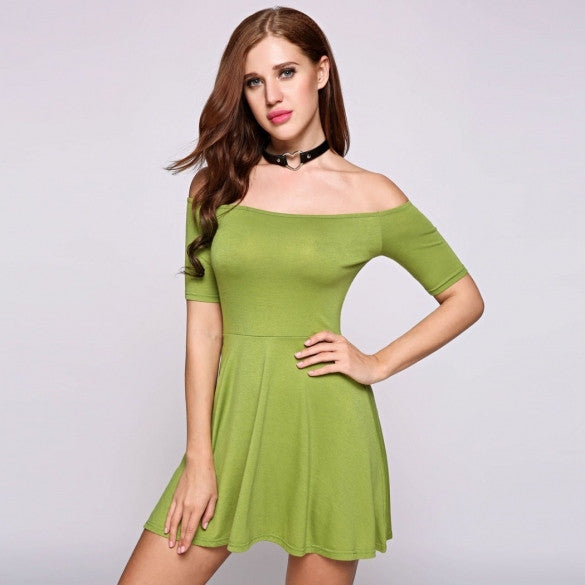 Short Sleeve Off The Shoulder Collar Solid Skater Going Out Dress