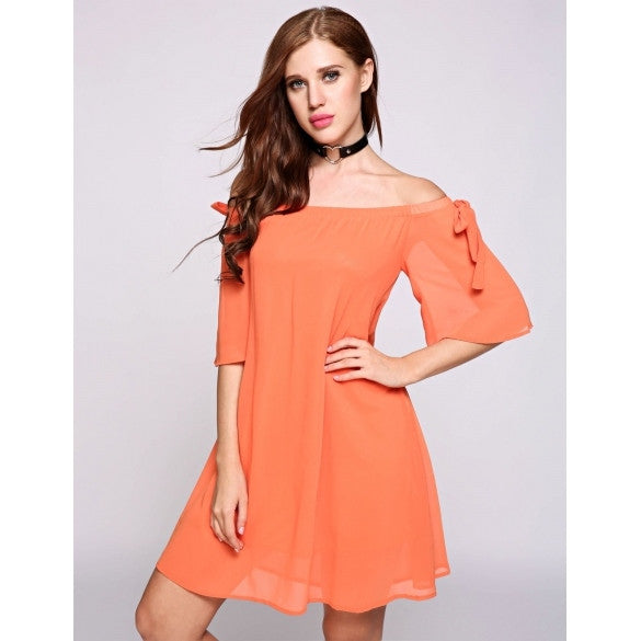 Half Bell Sleeve Off The Shoulder Collar Bow Skater Going Out Dress