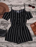 Stripes Cold Shoulder Spaghetti Strap Short Sleeves Rompers
