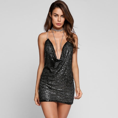 Halter Chain Collar Backless Sequined Bodycon Dress