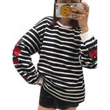 Black White Stripes Roses Embroidery Lantern Sleeve Loose Sweatshirt