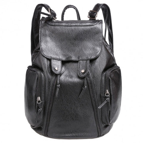 New Fashion Women Synthetic Leather Solid Backpack Rucksack Shoulder School Bags