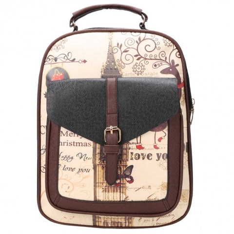 New Fashion Women Synthetic Leather Printing College Bag School Bags Backpack