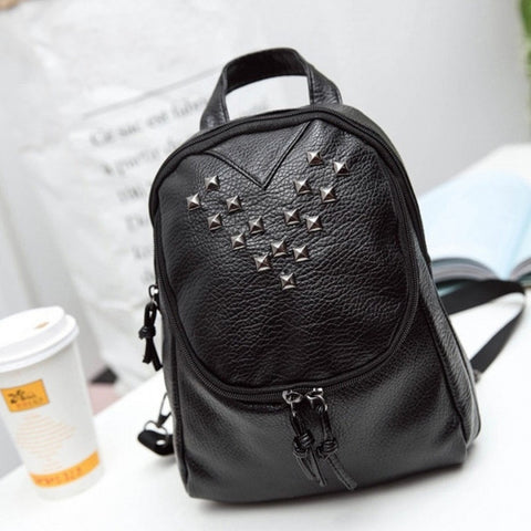 New Women Synthetic Leather Backpack Soft Rivet Decor Casual Outdoor Travel Backpack