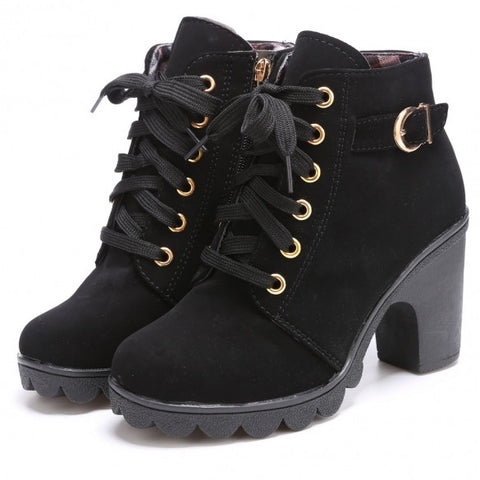 Fashion Women Lace Up Platform Block High Heel Ankle Boot Size 35-40