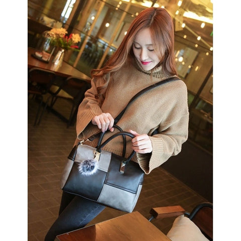 Women Fashion Synthetic Leather Handbag Patchwork Contrast Color Shoulder Bags