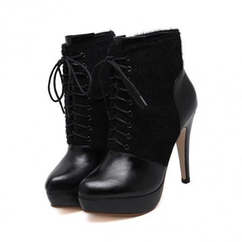 Fashion Women Lace Up Faux Fur Leather Pointed Platform Stiletto High Heel Boot Fleece Lined
