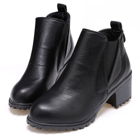 Women Fashion Autumn Winter Slip-On Synthetic Leather Ankle Boots