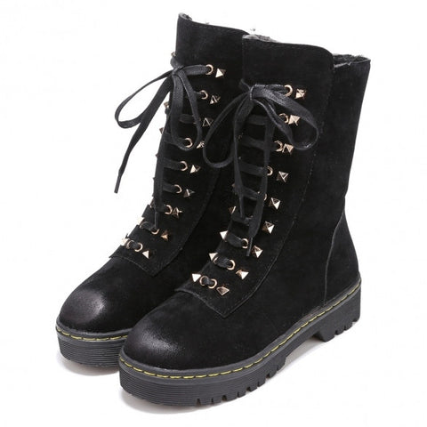 New Fashion Women Rivets Decor High Upper Cotton Lining Round Toe Ankle Boots