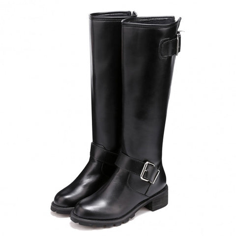 New Fashion Women High Upper Round Toe Buckle Decor Mid Calf Boot