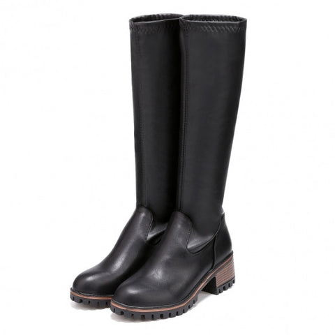 New Fashion Women Slim Round Toe Solid Mid Calf Cotton Lining Riding Boots