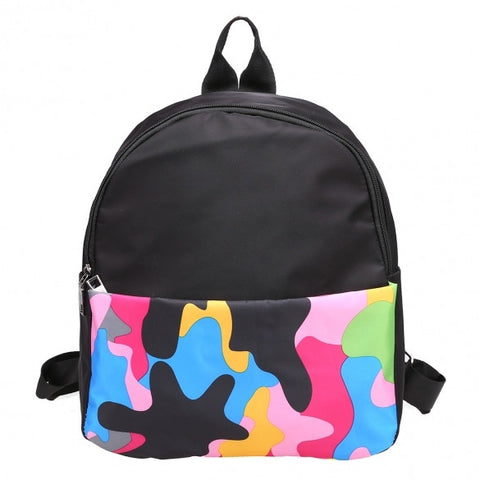 Casual Women Men Unisex Waterproof Camouflage Patchwork Cavans Backpack School Travel Bag