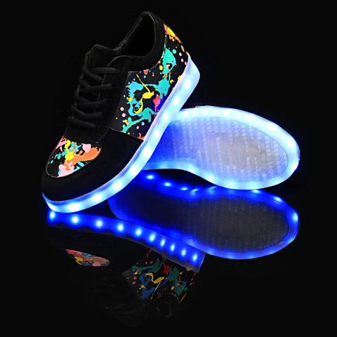 LED Light Up 7 Colors Flashing Graffiti Print Sneaker With USB Charger