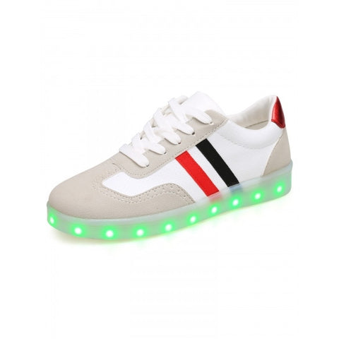 Women LED Light Up Patchwork Round Toe Synthetic Leather Flatform Sneakers