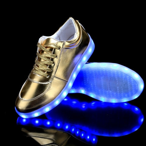 LED Light Up 7 Colors Flashing Solid Sneaker With USB Charger