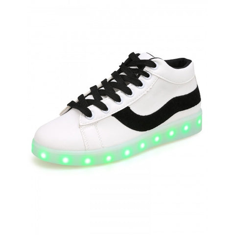 LED Light Up Patchwork Round Toe Flatform Sneakers