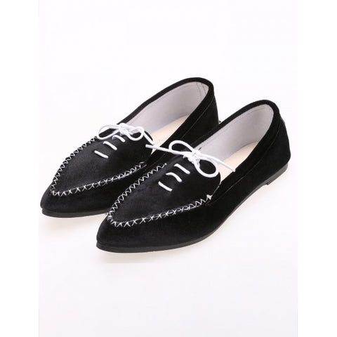Casual Lint Flat Point Toe Solid Loafer Shoes