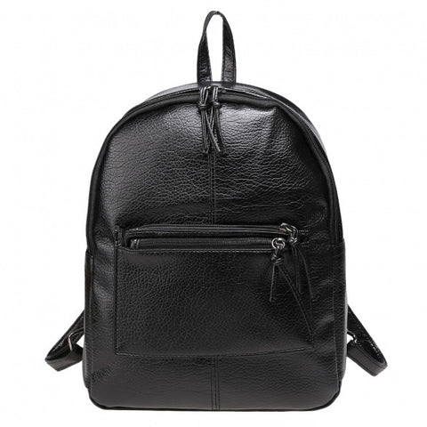 Stylish Solid Zipper-Up Closure Snakeskin Print Synthetic Leather Backpack