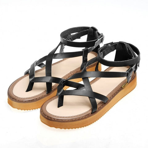 Roman Style Buckle Round Toe Flat Cross Strap Sandals