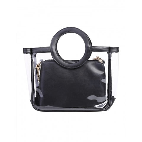 2 In 1 Round Handles Transparent Handbag And Crossbody Bag