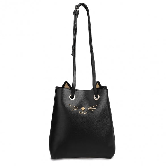 Cat Print PU Bucket Shoulder Bag
