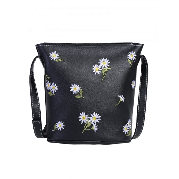 PU Leather Flower Embroidered Crossbody Bag
