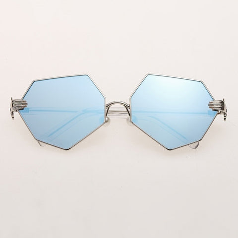 Resin Lens Palm Detail Polygonal Sunglasses