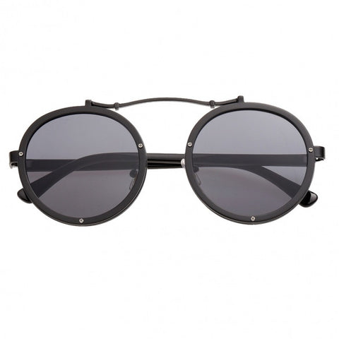 Retro Studded Detail Round Lens Sunglasses