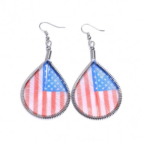 American Flag Pattern Water Drop Dangle Earrings