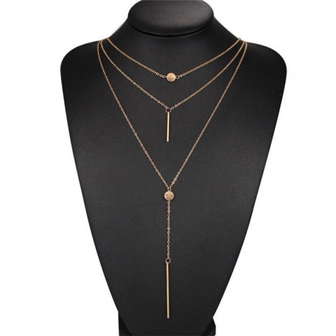 Multilayer Y Shape Metal Stick Pendant Chain Necklace