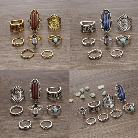 Bohemian Style Different Shapes And Sizes Charming Rings Set