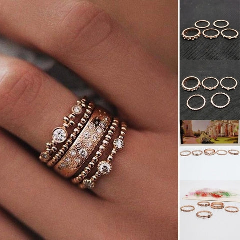 5 Pcs Ethnic Boho Style Tone Knuckle Rings Assorted Sets