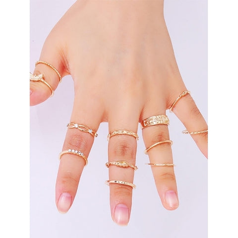 12 PCS Gold Polished Crystal Stackable Finger Rings Set