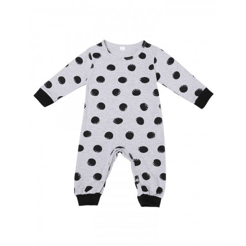 New Baby Kids O-Neck Letter And Dot Print Romper Jumpsuit Bodysuit Clothes Outfits