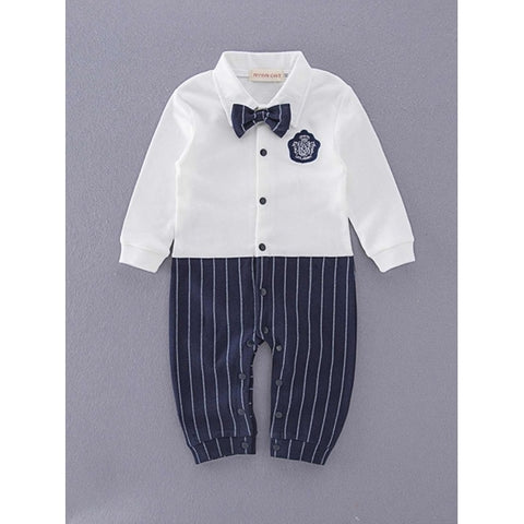 Child Doll Collar Button Striped Long Pants Bodysuit