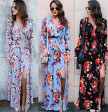 Floral Long Sleeve V Neck Slit Maxi Dress