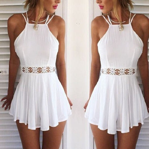 Lace Strap Halter Backless Jumpsuit