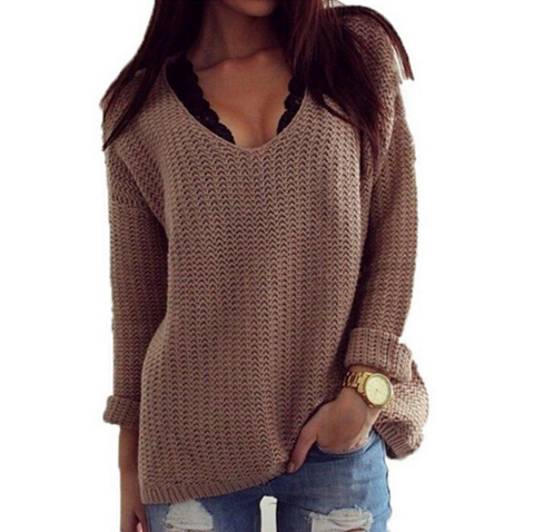 Casual Plain Hollow-out Long Sleeve V-Neck Knit Pullover Loose Sweaters