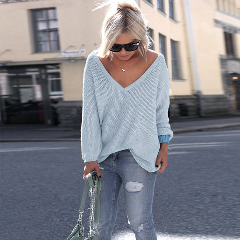 Women Solid Color V Neck Loose Sweater