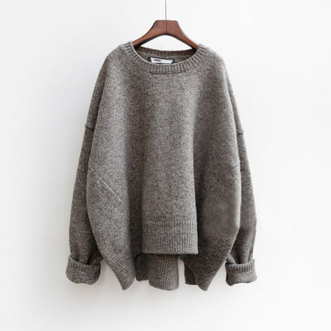 Fashion Plain Split Round Neck Pullover Knit Sweater