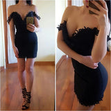 Ladies Lace Bodycon Dress Off Shoulder Short Tight Dresses
