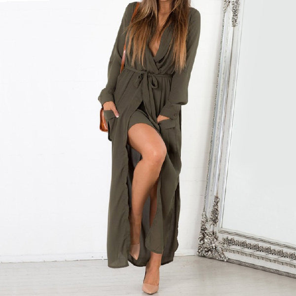 Fashion Loose Long Sleeve Slit Day Dress