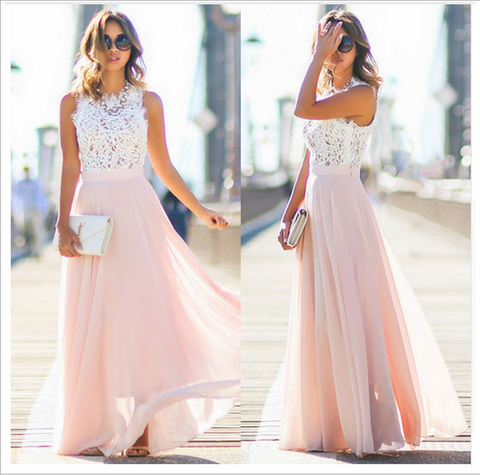 Floral Hollow Patchwork Lace and Chiffon Maxi Dress