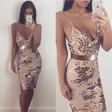 Sexy Spaghetti Strap Sequins Dress
