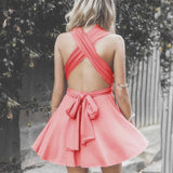 A-Line V-Neck Criss-Cross Straps Mini Homecoming Dress