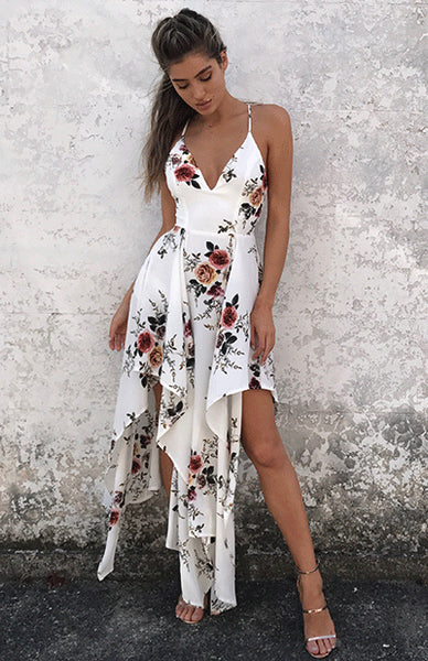 Bohemian Summer V-Neck Spaghetti Strap Sleeveless Maxi Dress