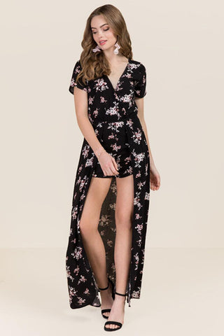 Floral Printed Womens Maxi Romper Dress