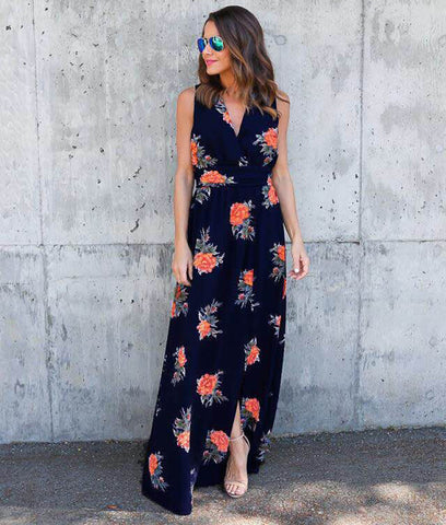 Floral Printed Backless Slit Maxi Dress