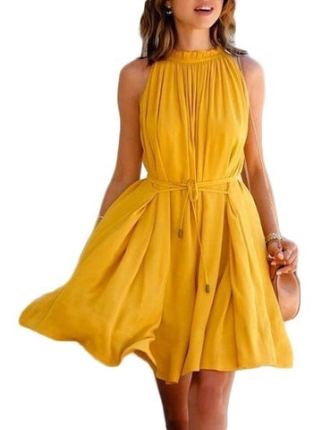 Yellow Bohemian Sleeveless Waist Tie Casual Pleated Dress